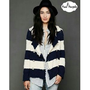 Free People Coat of Arms Striped Sweater Jacket